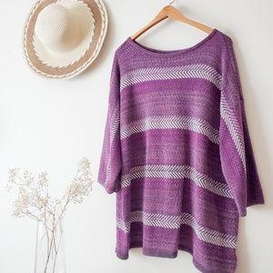 CHAPS Sweater || Purple Boho Herringbone || 2x